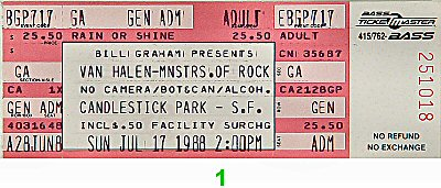 Van Halen1980s Ticket