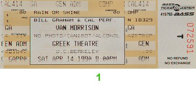 Van Morrison 1990s Ticket