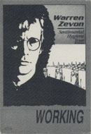 Warren Zevon Backstage Pass