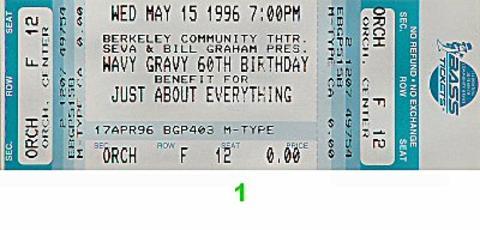 Wavy Gravy 60th Birthday Benefit Vintage Ticket