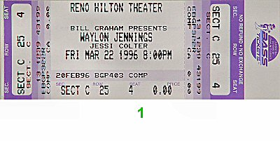 Waylon Jennings 1990s Ticket