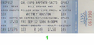 Whitney Houston1980s Ticket