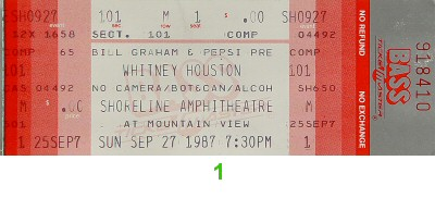Whitney Houston 1980s Ticket