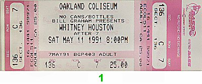 Whitney Houston 1990s Ticket