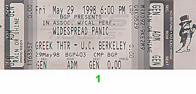 Widespread Panic 1990s Ticket