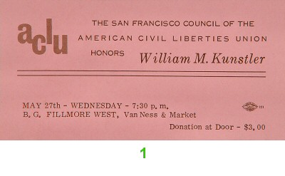 William M. Kunstler 1970s Ticket