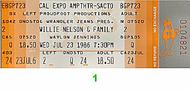 Willie Nelson and Family 1980s Ticket