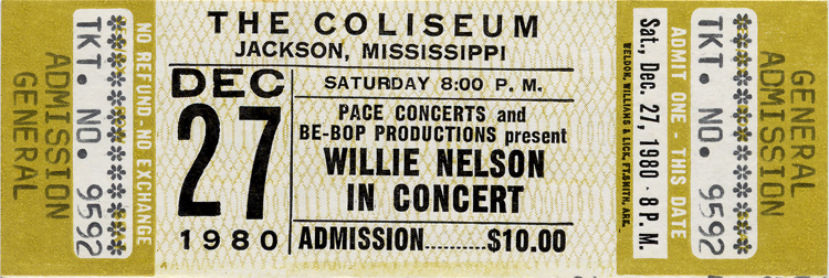 Willie Nelson in Concert 1980s Ticket