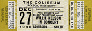 Willie Nelson 1980s Ticket