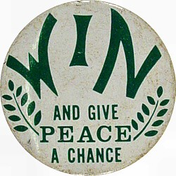 Win And Give Peace A Chance Vintage Pin