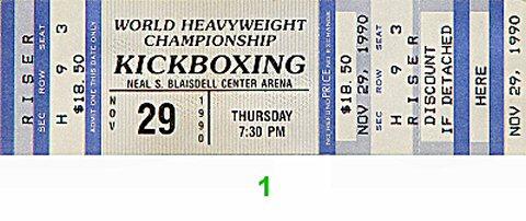 World Heavyweight Championship Kickboxing1990s Ticket
