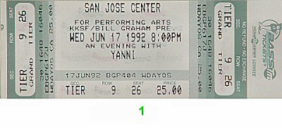 Yanni 1990s Ticket