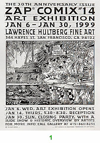 Zap Comix #14 Art Exhibition Handbill