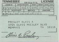 1975 Elvis Souvenir Driver's License Laminate