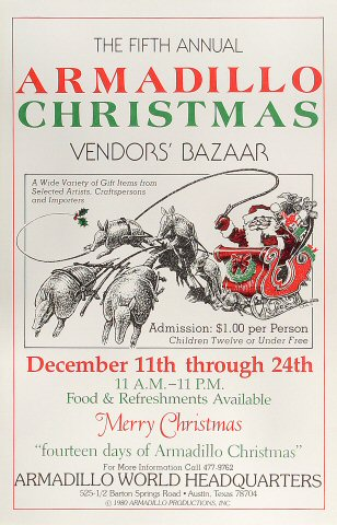 5th Annual Armadillo Christmas Vendors' Bazaar Poster