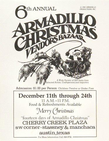 6th Annual Armadillo Christmas Vendors Bazaar Handbill