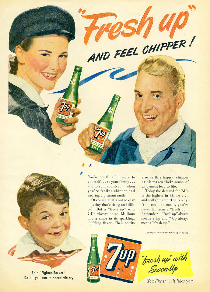 "7up: ""Fresh Up"" And Feel Chipper! Vintage Ad"