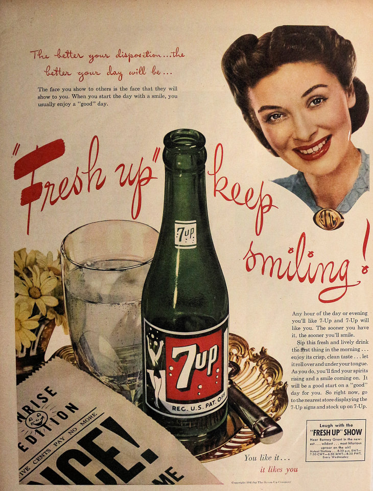"7up: ""Fresh Up"" Keep Smiling! Vintage Ad"