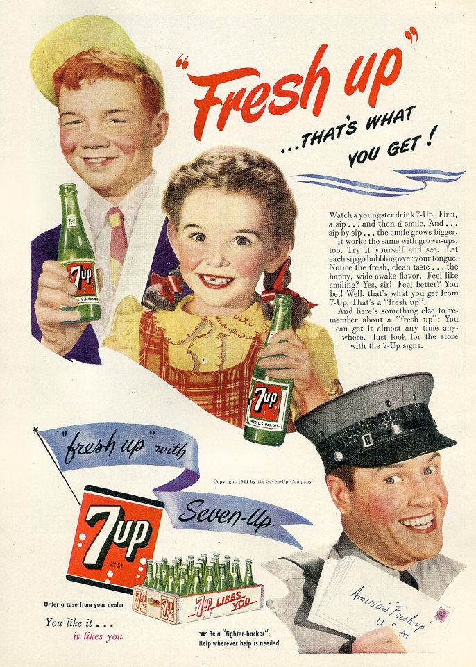 "7up: ""Fresh Up"" Vintage Ad"