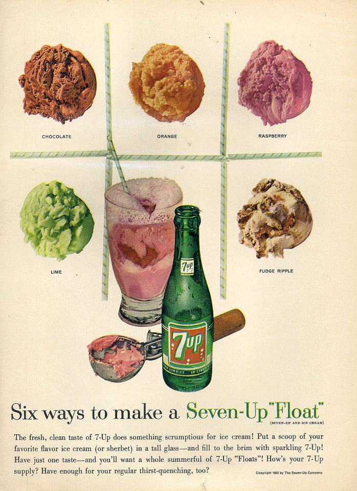 """7up: Seven-Up """"Float"""" Vintage Ad"""