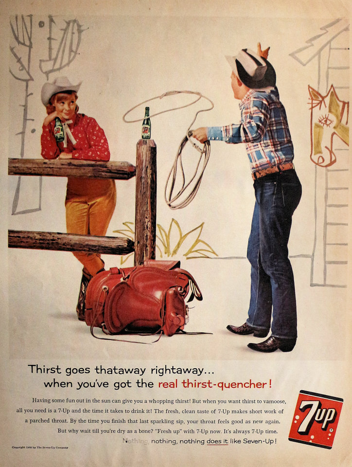 7up: Thirst Goes Thataway Rightaway... Vintage Ad