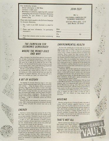 A Benefit Concert for C.E.D. Handbill reverse side