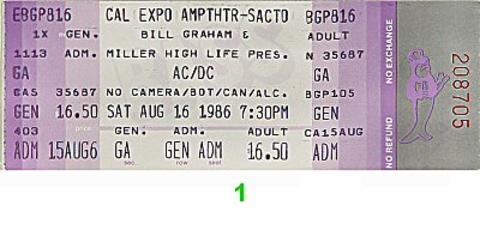 AC/DC Vintage Ticket