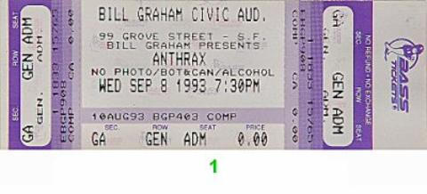Anthrax Vintage Ticket