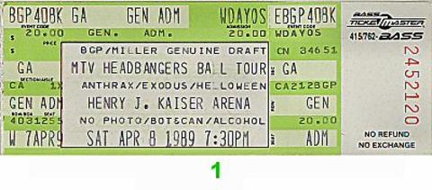 Anthrax Vintage Ticket