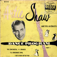 "Artie Shaw and His Orchestra Vinyl 7"" (Used)"