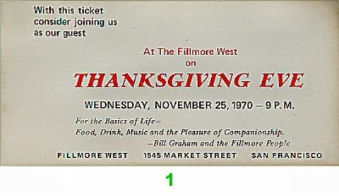 At The Fillmore West on Thanksgiving Eve Vintage Ticket