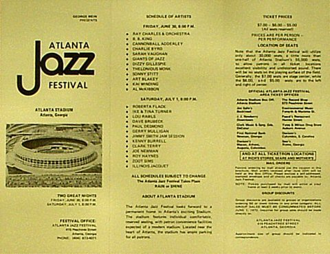 Atlanta Jazz Festival Program reverse side