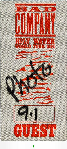 Bad Company Backstage Pass