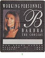 Barbra Streisand Backstage Pass