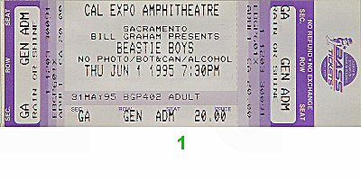 Beastie Boys Vintage Concert Vintage Ticket From Cal Expo