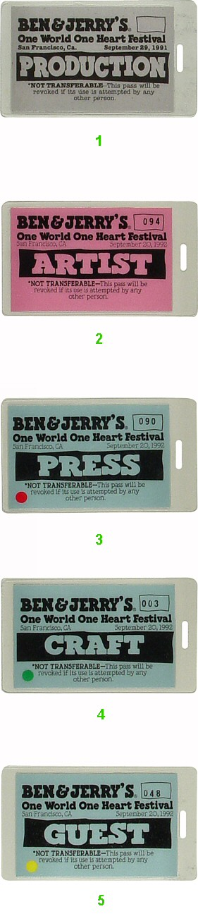 Ben and Jerry's One World One Heart Festival Laminate