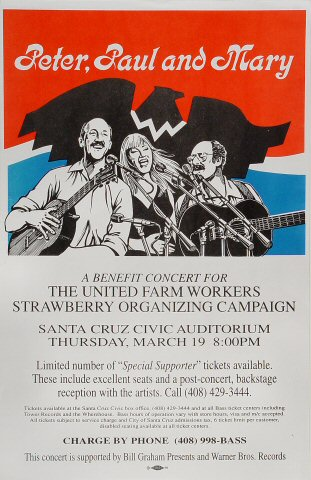 Benefit Concert for The United Farm Workers Strawberry Organizing Campaign Poster