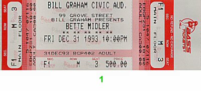 Bette Midler Vintage Ticket