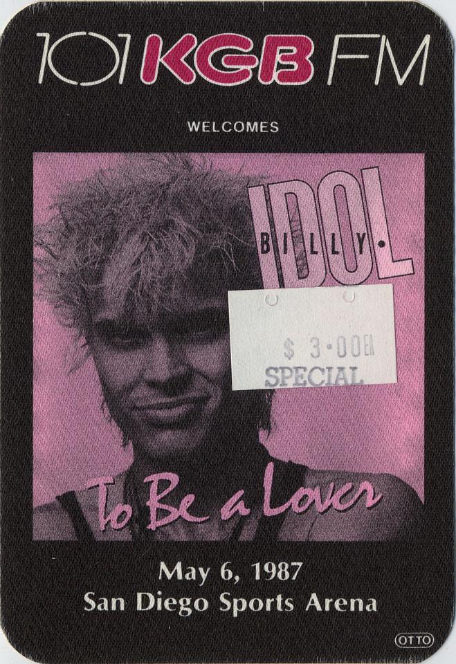 Billy Idol Backstage Pass