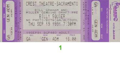 Billy Squier Vintage Ticket