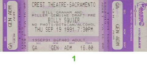 Billy Squier Vintage Ticket