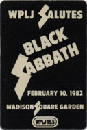 Black Sabbath Backstage Pass