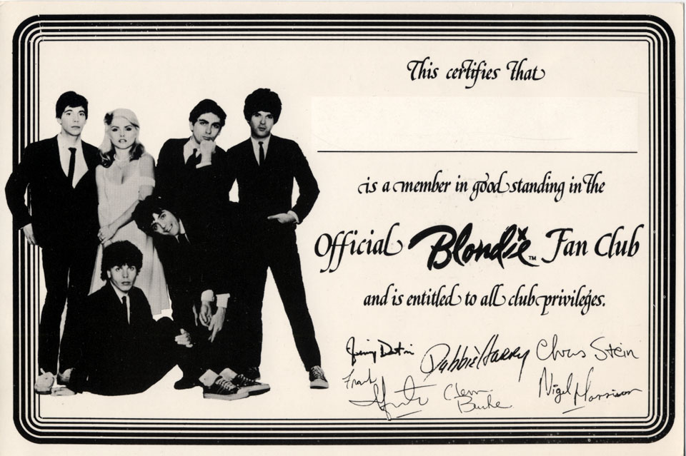 Blondie Fan Club Handbill