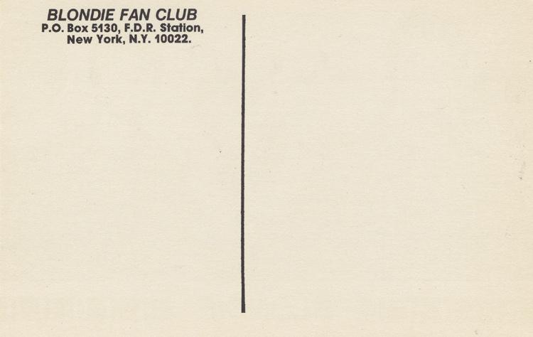 Blondie Postcard reverse side