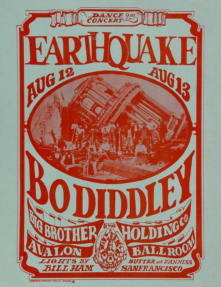 bo diddley vintage concert handbill from avalon ballroom aug 12