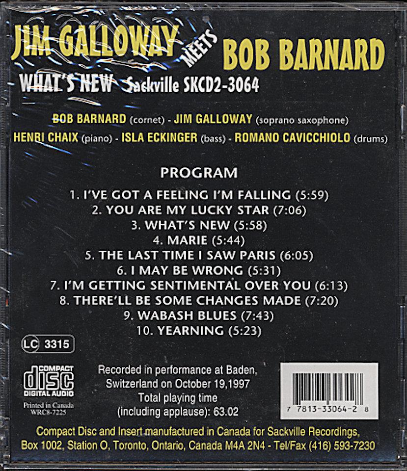 Bob Barnard / Jim Galloway CD