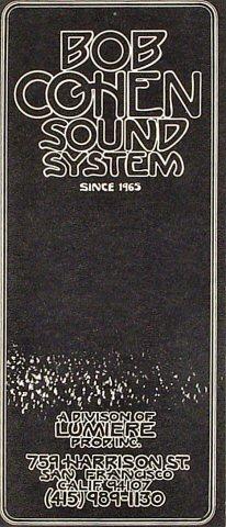 Bob Cohen Sound System Program
