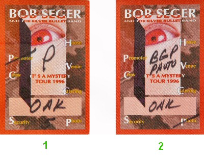 Bob Seger and The Silver Bullet Band Backstage Pass