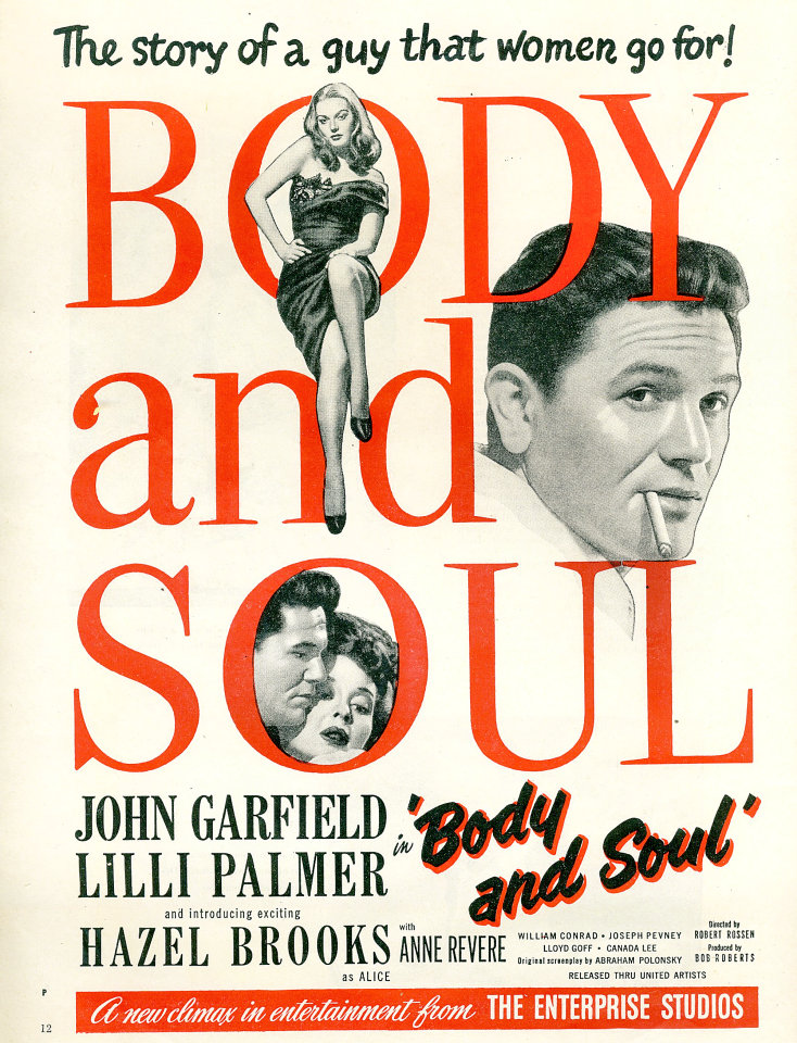 Image result for body and soul 1947 poster