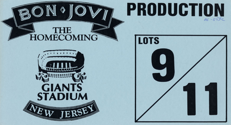 Bon Jovi Backstage Pass reverse side